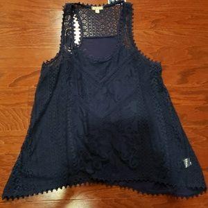 NWT Navy Blue Lace Tank